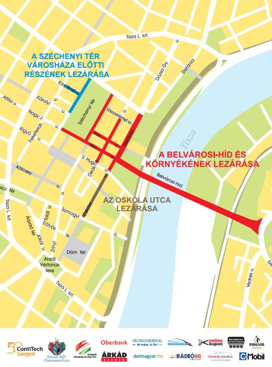 Forgalomkorlátozások a Szeged Napja Ünnepségsorozat második hétvégéjén